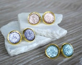 14mm Pastel Crystal Gold Earrings, Circle Sparkly Earrings, Rose Gold