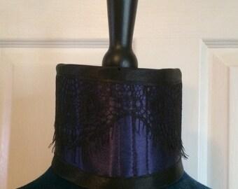 Blue Satin Posture Collar with Eyelash Lace Trim