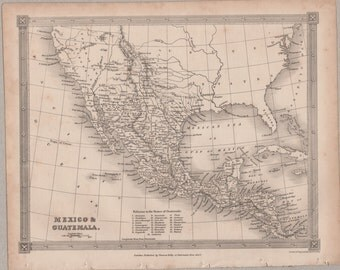 1843 Vintage Map of Mexico and Guatemala #00151