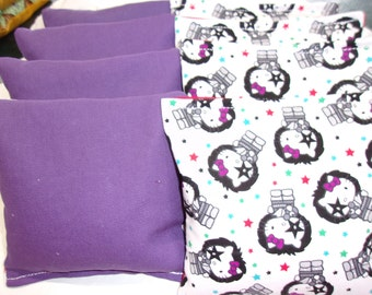8 ACA Regulation Cornhole Bags -  Hello Kitty Rock Star and Solid Purple