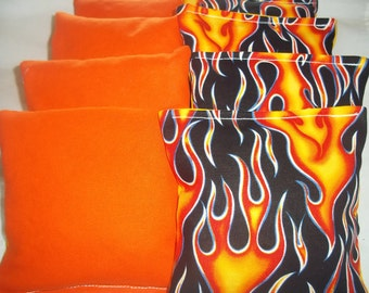 8 ACA Regulation Cornhole Bags -  Fire Flames and Solid Orange Bags