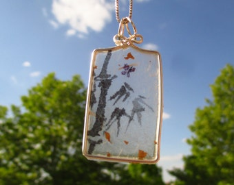 Paper pendant/Paper jewelry/Bamboo painting pendant/Bamboo butterfly painting jewelry/Paper necklace/Sumi bamboo painting/Japanese bamboo