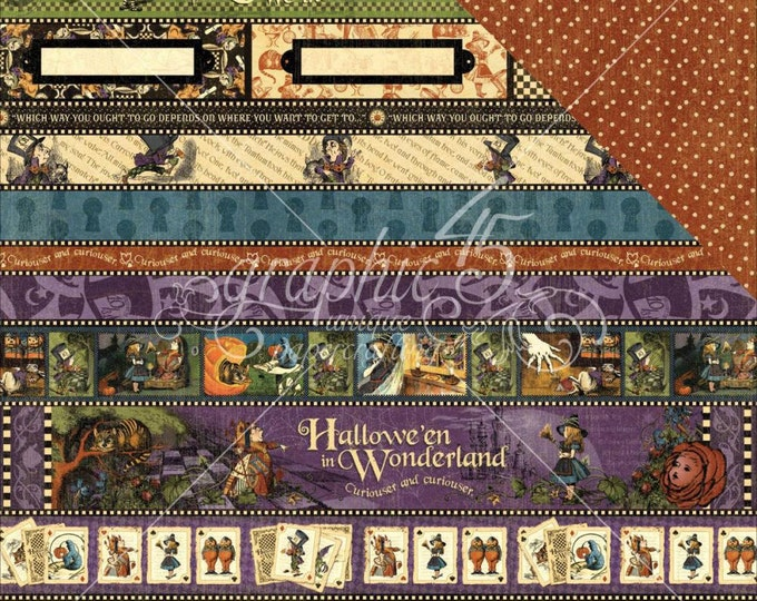 1 Sheet of HALLOWEEN IN WONDERLAND Scrapbook Cardstock by Graphic 45 Paper - At Last