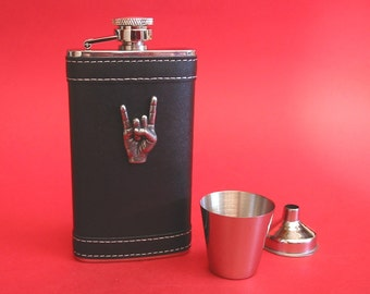 Rock On Black Leather 4oz Hip Flask Rock Music Gift Heavy Metal Gift Musician Gift