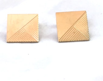 Gold Tone Cufflinks Square Etched Style Vintage Cuff Links Swank Bent Shank, Men's Accessories, Groomsman, Engraveable, Shiny Gold Cufflinks
