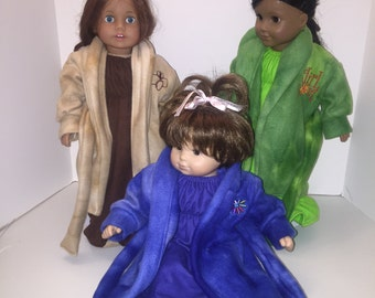 "Fleece Girl Scout Robe w/Sleepers and Flannel Nightgown Set - Fits 18"" AG and 15"" BB Dolls"