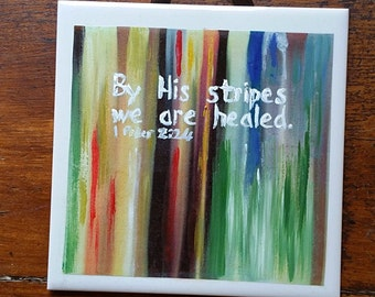 Christian Wall Art, 'By His Stripes We Are Healed' Inspirational Wall Art