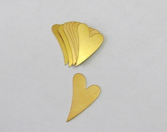 """Mini Brass hearts  - 1/2 x 1"""" - Easy to stamp on  - Hand stamping metal disc  -heart blanks - metal hearts - Stamping Supplies 5 or more"""
