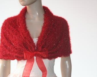 Red Wedding Shawl, Bridal Shawl, Bridal Wedding Stole .Red Shawl, Hand Knit Shawl, Red Capelet, Wedding Capelet, Bridesmaid Shawl