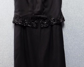 1960's Black Evening Dress with Jets, Size 14