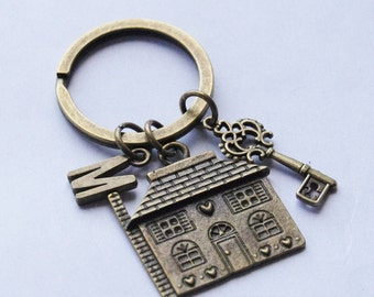 Housewarming Gift New House Keychain First House Keyring Personalized Home Key Chain Personalized Brass Skeleton Key ring Monogram Keychain