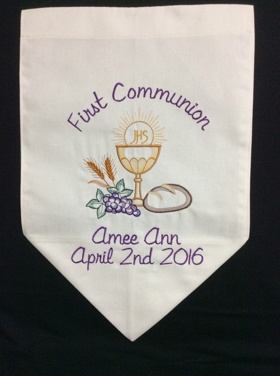 Personalized Firstmunion Banner With Chalice, Bread, Wheat And Grapes