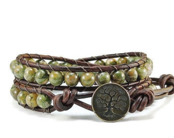 Leather Wrap Bracelet Rhyolite Gemstones Tree of Life Beaded Jewelry