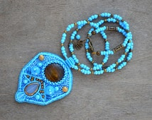 Sky Blue Bead Embroidery Necklace Embroidered Pendant Beaded Pendant Beadwork Seed Bead Necklace Embroidered Jewelry Gift
