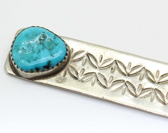 Sterling Silver Turquoise NAVAJO Book Mark Stampwork Bookmark-Old Pawn Native American - Unusual -Estate Jewelry!