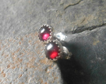 Garnet earrings, stud earrings, January birthstone earrings, sterling silver earrings, dainty gemstone earrings