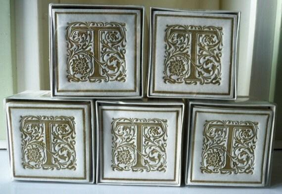 Hallmark Wedding Anniversary Gifts: Hallmark Paper Coasters Monogram T White Gold 200
