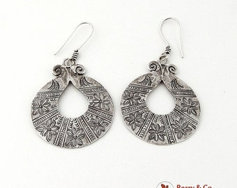 SaLe! sALe! Vintage Dangle Earrings Hand Made Floral Embossed Sterling Silver