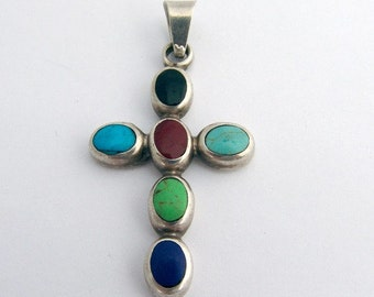 SaLe! sALe! Multistones Cross Pendant Sterling Silver