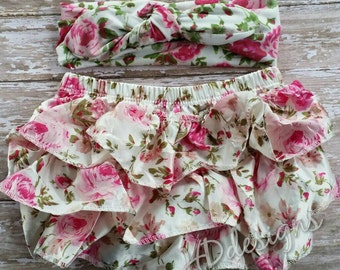 Baby girl floral baby bloomers with matching headband-diaper cover-baby shower gift-photo prop