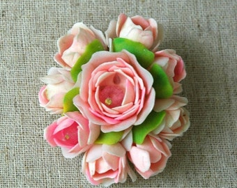 On SALE Vintage rose bouquet brooch with realistic petals and crystal bead interior.