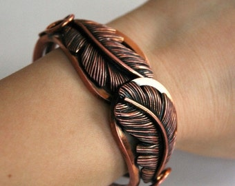 ON SALE Copper feather bracelet.  Clamper bracelet.  Leaf bracelet.