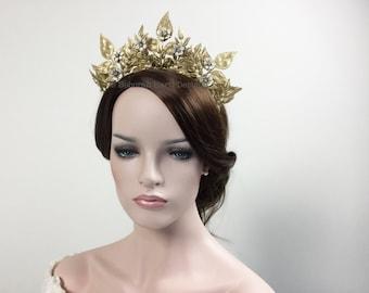 Gold Regal crown - Bride Prom Queen headpiece tiara majestic leaves & flowers Romantic headband Swarovski crystals pearls