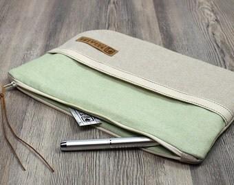 Green Clutch, linen clutch, handbag, vegan handbags, vegan clutch, canvas clutch, vegan leather bag, cosmetic bag, Tablet