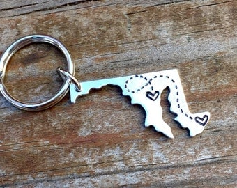 CUSTOM USA Key chain / Long Distance Love Handstamped America Keychain with Hearts Maryland