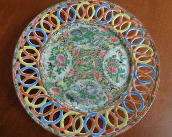 Chinese Famille Rose Reticulated Dish