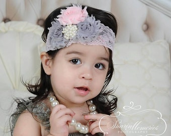 Chiffon Flower Headband - Pink and Gray - Newborn Headband - Baby Headband - Chiffon Headband - Infant Headband - Photo Prop - Baby Girl