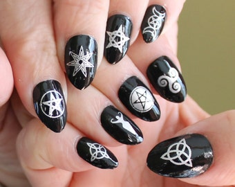 WICCAN Nail Art Symbols MEGAPACK (MXS) 57 Silver Mixed Decals on Clear - Waterslide Transfer Stickers for Dark or Black Nail Polish