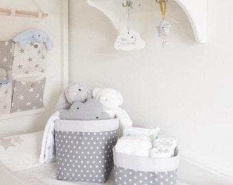 Mini Stars Fabric Storage Baskets (Pair)   Five Colours   Nappy Storage  Nursery Decor