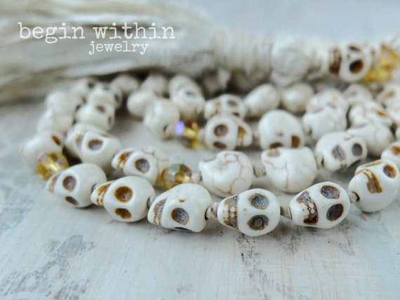 Skull Mala Beads / Tassel Necklace / Day of the Dead Necklace / Shaman Necklace / Festival Jewelry