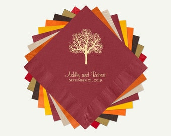Fall Wedding Wine Color Cocktail or Luncheon Napkins | Tree Wedding Personalized Cocktail Or Luncheon Napkins. Select A Color And Foil.