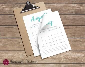 Printable Calendar (Teal)