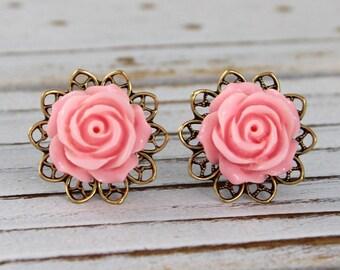 Soft Pink Rose - vintage style antique brass rose post earrings - Secret Garden Collection