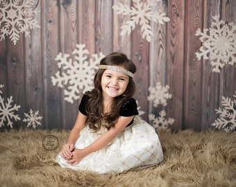 5ft x 5ft Gold Glitter Snowflake Photography Backdrop - Wood Christmas Photo Prop - Exclusive Design - Item 3027