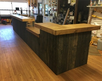 The Survey - 20' rustic custom sales counter, or reception desk.  Pick your colors.