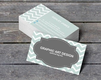 "Business Card Templates - Editable PDF - 3.5"" x 2"" Chevron Frames Professional Calling Card - Printable Business Card - DIY You Print"