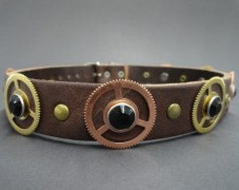 Choker Collar Brown Steampunk CHoker with Gear and Black Gem