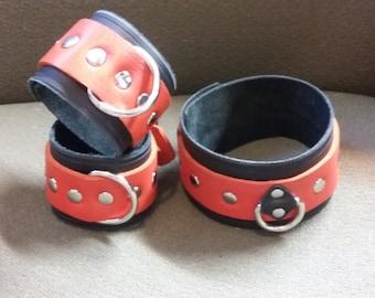 Bracelet Cuff Black and Orange Leather Restraint Choker & Bracelets with a Silver D Ring