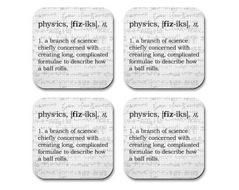 Physics Definition Coasters - Neoprene 4 Piece Set -  Science Coasters - Math Coasters - Teacher Gift - College Gift - Geek Gift - Geeky