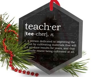Teacher Christmas Ornament - Funny Definition of Teacher- Beveled Glass