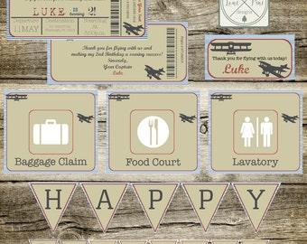 Airplane Birthday Invitation 9x4 Package Digital, Aviation Birthday Invitation, Pilot Birthday Party Invite