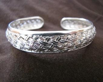 Sterling Silver Woven Wire Open Back Cuff Bangle