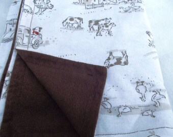 Farm Life Baby Quilt; Cows, Sheep and Ducks Receiving Blanket; Down on the Farm Flannel Blanket