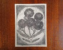 flower patch - chrysanthemums sew on patch, handprinted art