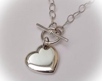 Sterling Silver Heart Pendant/Necklace (Large): UK Handmade