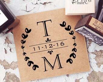 Wedding Stamp, Wreath Wedding Stamp- Wedding Monogram Stamp, Wedding Invitation Stamp,  Self inking Save the Date Stamp 10119